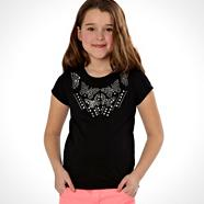 Designer girl's black studded butterfly t-shirt