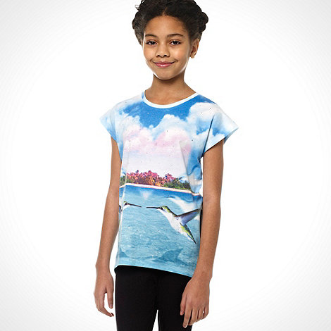 Butterfly by Matthew Williamson - Designer girl+s blue hummingbird printed top