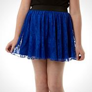 Designer girl's blue lace skirt