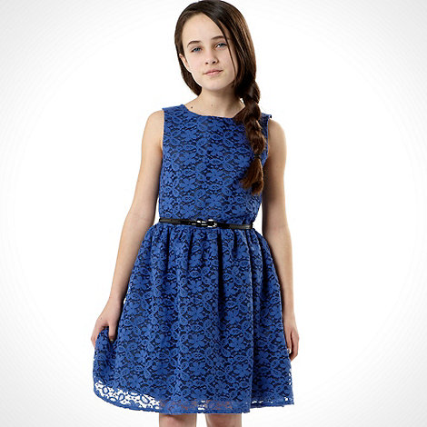 Butterfly by Matthew Williamson - Designer girl+s bright blue belted lace dress