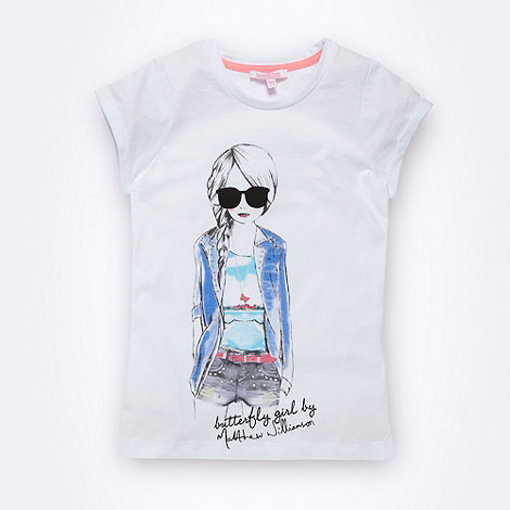Butterfly by Matthew Williamson - Designer girl+s white studded girl t-shirt