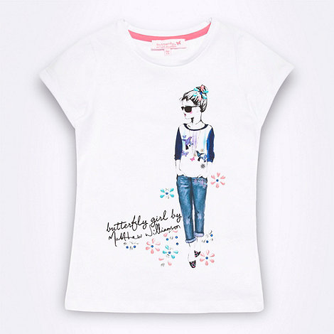 Butterfly by Matthew Williamson - Designer girl's white girl print t-shirt