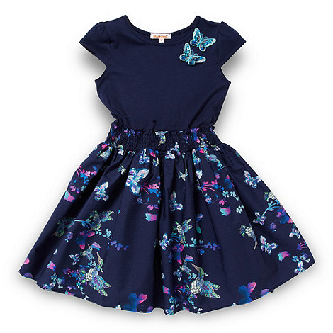 bluezoo - Girl+s navy butterfly and bird patterned dress