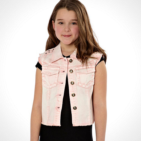 Star by Julien Macdonald - Designer girl+s light pink tie dye denim waistcoat
