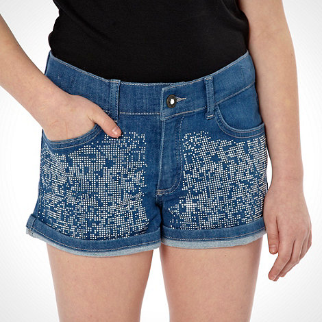 Star by Julien Macdonald - Designer girl+s blue stone embellished shorts