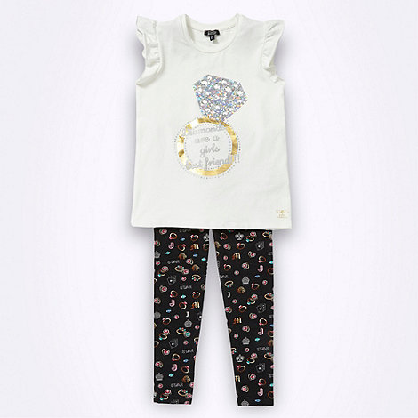 Star by Julien Macdonald - Designer girl+s white ring t-shirt and leggings set