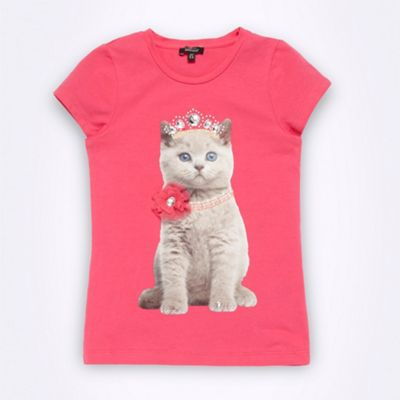 Designer girls bright pink kitten t-shirt
