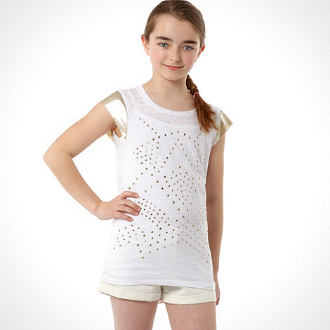 Star by Julien Macdonald - Designer girl+s white studded top