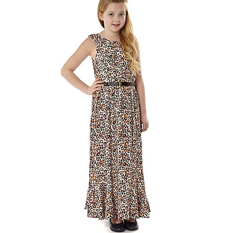 Star by Julien Macdonald - Designer girl+s natural animal maxi dress