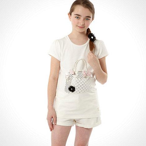 Star by Julien Macdonald - Designer girl+s cream diamante handbag design top with floral bobble