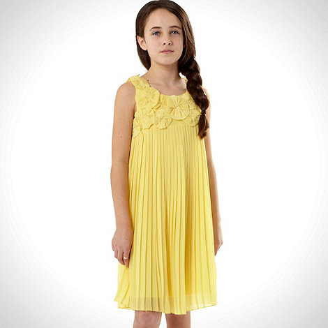 RJR.John Rocha - Designer girl+s yellow pleated flower dress