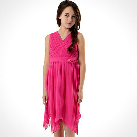 RJR.John Rocha - Designer girl+s pink pleated crossover dress