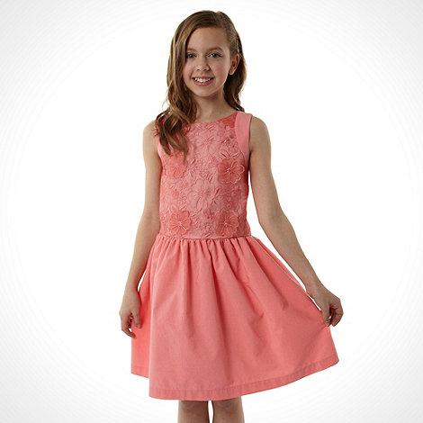 RJR.John Rocha - Designer girl+s coral floral occasion dress