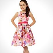 Designer girl's pink digital floral dress