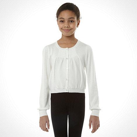 RJR.John Rocha - Designer girl+s white pintucked cardigan