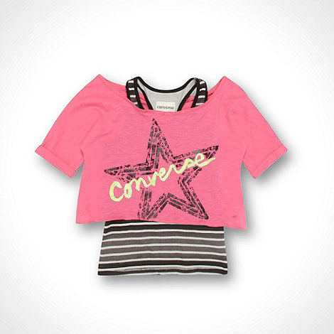Converse - Girl+s pink layered top