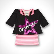 Converse girl's black layered top
