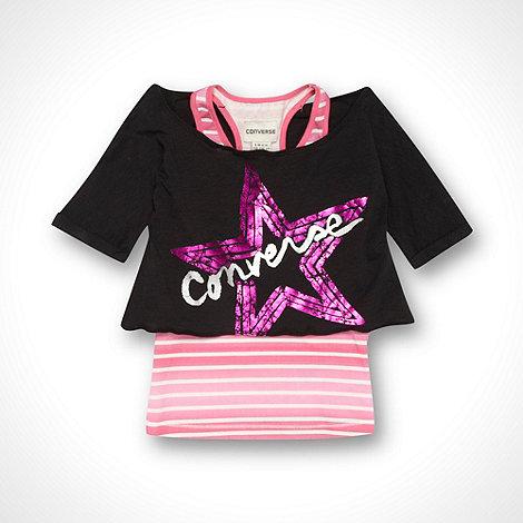Converse - Girl+s black layered top