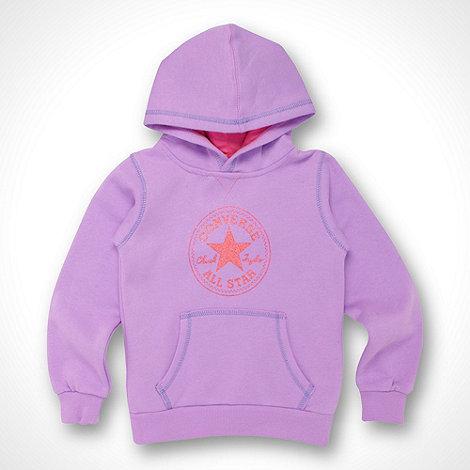 Converse - Girl+s purple logo hoodie