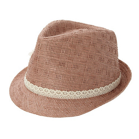 bluezoo - Girl+s light pink lace trim and corsage trilby