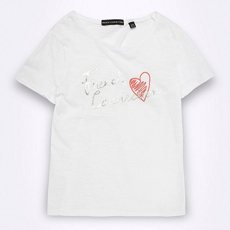 French connection - Girl+s white logo t-shirt