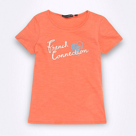 French connection - Girl+s coral metallic logo t-shirt
