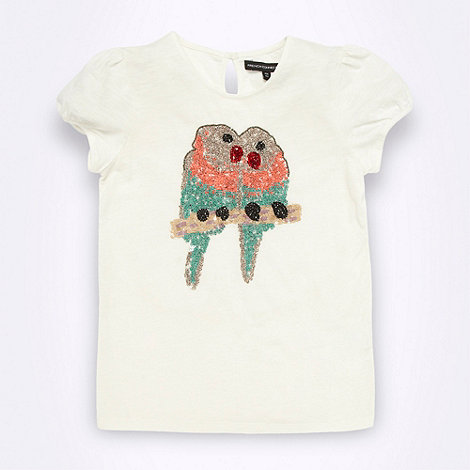 French connection - Girl+s white sequin parrot t-shirt