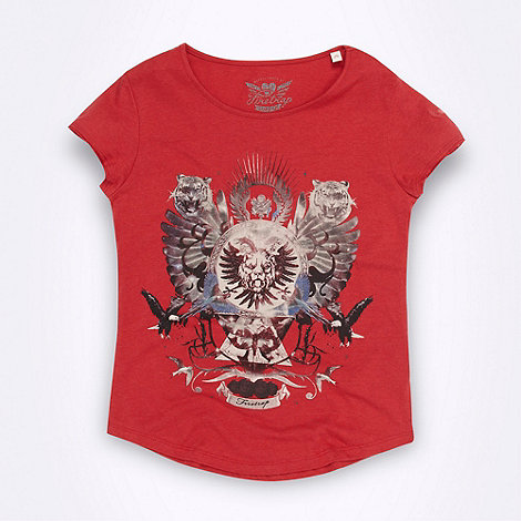 Firetrap - Girl+s red print logo t-shirt