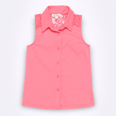 bluezoo - Girl+s bright pink lace insert shirt
