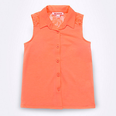 null - Girl+s bright coral lace insert shirt