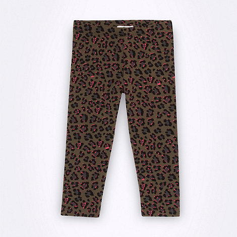 bluezoo - Girl+s khaki cropped animal leggings