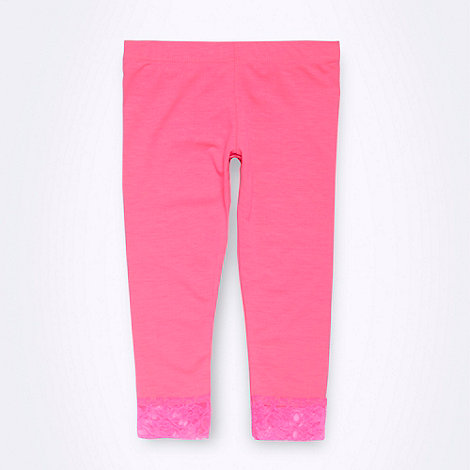 bluezoo - Girl+s neon pink cropped lace trimmed leggings