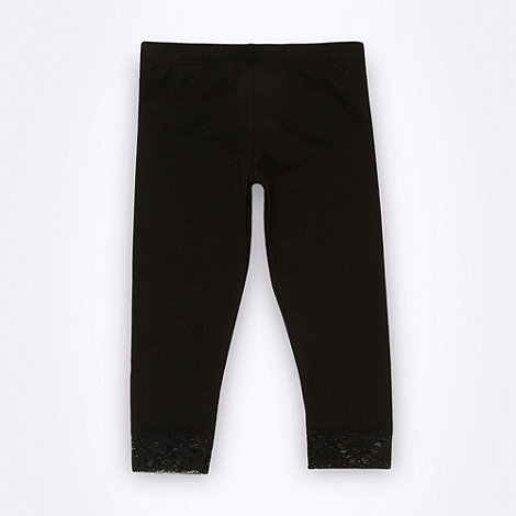 bluezoo - Girl+s black cropped lace trimmed leggings