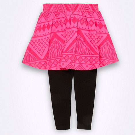 bluezoo - Girl+s bright pink 2-in-1 aztec skater skirt and leggings