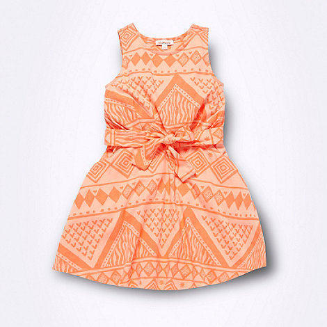 bluezoo - Girl+s bright coral aztec print dress