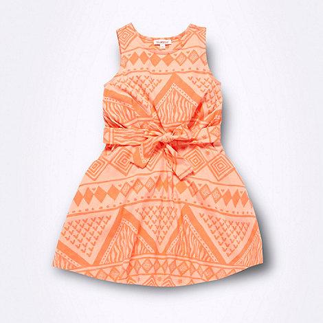 bluezoo - Girl+s bright coral aztec print dress