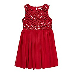 bluezoo - Girls' red chevron sequinned embellished dress