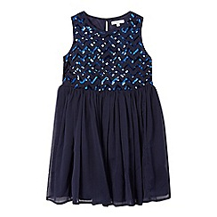bluezoo - Girls' navy sequinned embellished dress