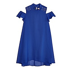 bluezoo - Girls' bright blue cold shoulder trapeze dress