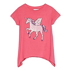 bluezoo - Girls' pink unicorn embellished top
