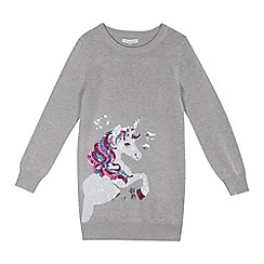 bluezoo - Girls' grey sequinned unicorn tunic