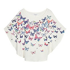 bluezoo - Girls' cream butterfly print cape top