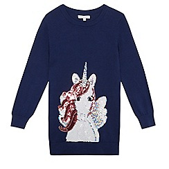 bluezoo - Girls' navy sequinned unicorn tunic