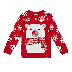 bluezoo - Girls' red light up nose polar bear Christmas jumper