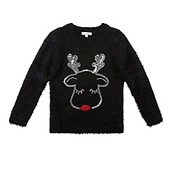 bluezoo - Girls' black light up nose reindeer Christmas jumper
