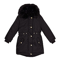 bluezoo - Girls' black faux fur trim parka coat