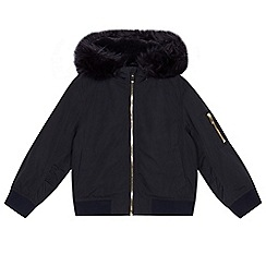 bluezoo - Girls' navy faux fur trim bomber jacket