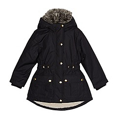 bluezoo - Girls' black borg lined parka coat