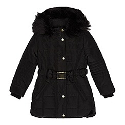 bluezoo - Girls' black faux fur trim padded coat