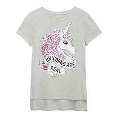 bluezoo - Girls' grey 'Unicorns Are Real' sequinned tunic